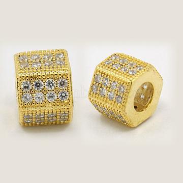 Brass Cubic Zirconia European Beads, Hexagon, Golden, 8x8mm, Hole: 5mm(X-ZIRC-F001-126G)