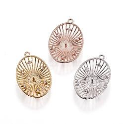 Pendentifs en laiton, avec zircons, pour la moitié de perles percées, ovale, clair, couleur mixte, 24x16x4mm, trou: 1.2 mm; broches: 1 mm(KK-L177-09)