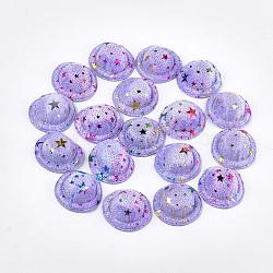 Chapeau de velours, diy artisanat décoration, motif en étoile, lilas, 48~50x17~18 mm; environ 100 PCs / sac(AJEW-T004-02B)
