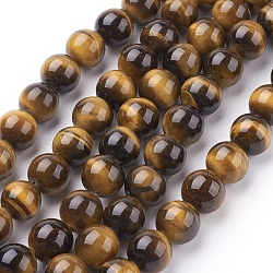 Natural Tiger Eye Beads Strands, Dyed, Round, Goldenrod, 10mm