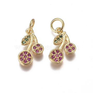 Golden Magenta Cherry Brass+Cubic Zirconia Charms