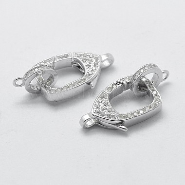 925 Sterling Silver Cubic Zirconia Lobster Claw Clasps(STER-K169-01P)-2