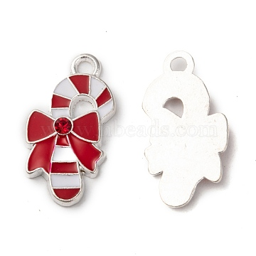 Alloy Enamel Pendants, with Rhinestone, Christmas Crutch, Red and White, Nickel Free, Silver, 27x14x3mm, Hole: 3mm(X-ENAM-S004-3-NF)