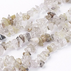 "34/"" Rutilated Quartz Natural CHIPS 6-8mm Continuous Necklace Strand"