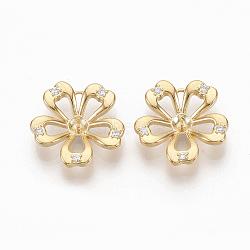 pendentifs en laiton, pour la moitié de perles percées, avec zircone cubique micro pavée transparente, sans nickel, fleur, réel 18 k plaqué or, 15x15.5x3 mm, trou: 1 mm; broches: 0.5 mm(ZIRC-Q021-085G-NF)