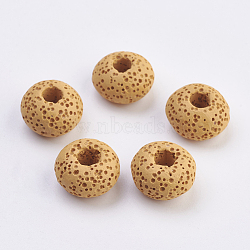 Perles européennes en lave naturelle, teint, Perles avec un grand trou   , plat rond, verge d'or, 15~16x8.5~9mm, Trou: 4~5mm(G-E477-A03)