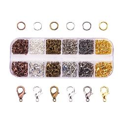 Fermoirs mousqueton en alliage et anneaux de jonction en fer, couleur mixte, 12x7x3mm, trou: 1mm; 5x0.6mm; fermoir: environ 20pcs / compartiment, anneau: environ 5g / compartiment(FIND-X0007)