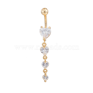 Real 18K Gold Plated Piercing Jewelry Brass Cubic Zirconia Heart Navel Ring Belly Rings, 7~8x52mm(AJEW-EE0001-06)