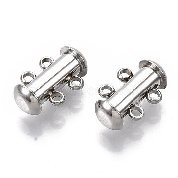304 Stainless Steel Slide Lock Clasps, 2 Strands, 4 Holes, Tube, Stainless Steel Color, 15x10x6.5mm, Hole: 1.6mm(STAS-S079-157P)