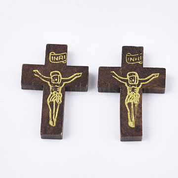 Printed Wooden Pendants, Crucifix Cross, For Easter, Dyed, CoconutBrown, 32.5~33.5x21~22x4.5mm, Hole: 2mm(X-WOOD-S050-35A-03)