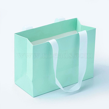 Paper Bags, Gift Bags, Shopping Bags, with Ribbon Handles, Rectangle, Turquoise, 15.5x11.5x7cm(X-CARB-G003-01)
