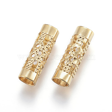 Vacuum Plating 304 Stainless Steel Beads, Tube, Hollow, Golden, 12x4mm, Hole: 3.5mm(X-STAS-G124-30G)