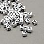 6mm Black Cube Acrylic European Beads(X-SACR-Q103-6mm-01N)