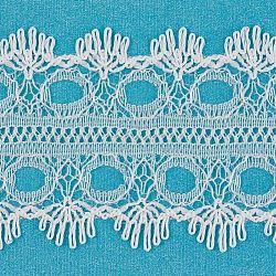 "Ruban en nylon avec garniture en dentelle pour la fabrication de bijoux, blanc, 1-3/8"" (35mm); Environ 200 heures / rouleau(ORIB-F003-209)"