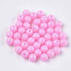 Perles plastiques opaques, rond, rose, 6x5.5mm, trou: 1.8 mm; environ 5000 pcs / 500 g(KY-T005-6mm-602)