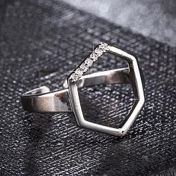 bagues réglables en acier inoxydable de ton platine, anneaux boutons de manchette, avec zircons, hexagone, effacer, 15x13 mm(RJEW-EE0002-01P)