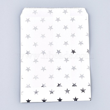 Star Pattern Eco-Friendly Kraft Paper Bags, Gift Bags, Shopping Bags, Rectangle, Silver, 18x13x0.01cm(AJEW-M207-G01-02)