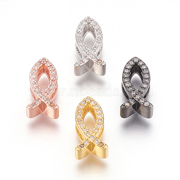 Mixed Color Clear Fish Brass+Cubic Zirconia Slide Charms