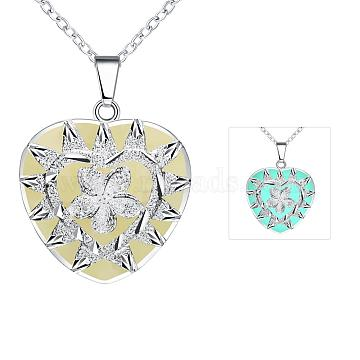 Zinc Alloy Heart with Flower Luminous Noctilucent Necklaces, with Cable Chains, Cyan, Silver Color Plated, 19.6 inches(NJEW-BB03158-B)