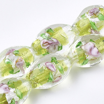 Handmade Silver Foil Glass Lampwork Beads, Oval with Flower, Green Yellow, 16~17x9~11mm, Hole: 1.5~2mm(X-LAMP-Q030-02M)