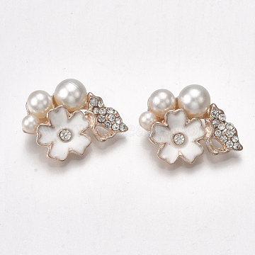Alloy Rhinestone Cabochons, with ABS Plastic Imitation Pearl and Enamel, Flower, Light Gold, 16.5x23x9mm(PALLOY-T066-05KC)