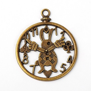 Tibetan Style Antique Bronze Tone Alloy White Rabbit Clock DIY Jewelry Pendant Accessories, Lead Free and Nickel Free, 50x41x2mm, Hole: 3mm(X-PALLOY-A18705-AB-FF)