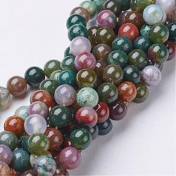 Gemstone Beads Strands, Natural Indian Agate, Round, about 8mm in diameter, hole: about 1mm; about 46pcs/strand, 15~16inches