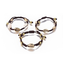 bracelets de perles tressés en nylon, avec des perles de coquillage galvanisées et des perles rondes en laiton, shell cauris, or, 1-7 / 8 / 2-1 8 cm)(BJEW-E281-03)