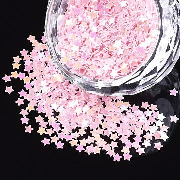 Shining Nail Art Glitter, Manicure Sequins, DIY Sparkly Paillette Tips Nail, Star, Pink, 2.5x2.5x0.3mm(X-MRMJ-T017-04K)