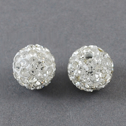 Pave Disco Ball Beads, Polymer Clay Rhinestone Beads, Round, Crystal, 12mm, Hole: 2mm(X-RB-S250-12mm-10)