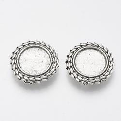 Tibétain charmes de diapositives en alliage de style cabochon paramètres, sans plomb, plat rond, argent antique, plateau: 18 mm; 28.5x7 mm, trou: 2.5x10 mm(X-TIBE-Q086-040AS-LF)