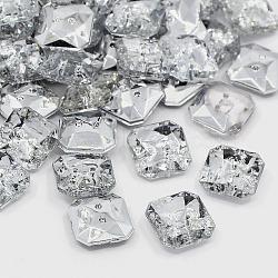 Boutons en acrylique avec strass, 2-trou, facette, octogone, cristal, 11x11x4mm, Trou: 1mm(X-BUTT-J007-01-B)