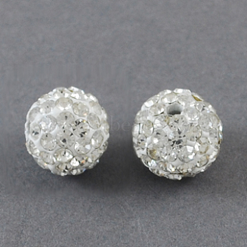 Perles de boule pavé disco , Perles de strass en argile polymère, rond, cristal, 12mm, Trou: 2mm(X-RB-S250-12mm-10)