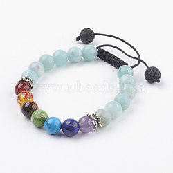 """Bijoux chakra, bracelets réglables de pierre gemme et de tressage de résine, avec fils de nylon et accessoires en alliage, amazonite naturel, 2-1/8"""" (54 mm)(BJEW-JB03518-02)"""