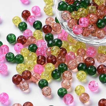Baking Painted Crackle Glass Beads, Fall Mix, Round, Mixed Color, 6~6.5x5.5~6mm, Hole: 1mm; about 200pcs/bag(DGLA-X0006-6mm-08)