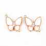 Real 18K Gold Plated Seashell Color Butterfly Brass+Cubic Zirconia Links(KK-Q766-009-NF)