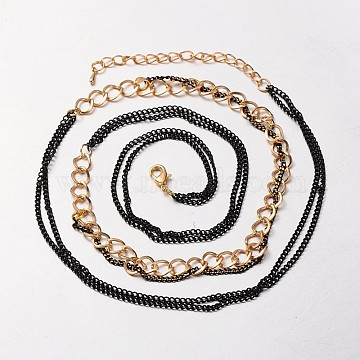 Golden Tone Iron Curb Chains and Brass Twisted Chains, with Alloy Lobster Clasps Claw Clasps and Iron End Chains, Black, 29.5inches(NJEW-J023-01)