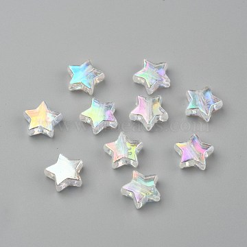 Eco-Friendly Transparent Acrylic Beads, Star, Clear AB, AB Color, about 10mm in diameter, 4mm thick, hole:1.5mm(X-PL556-1)