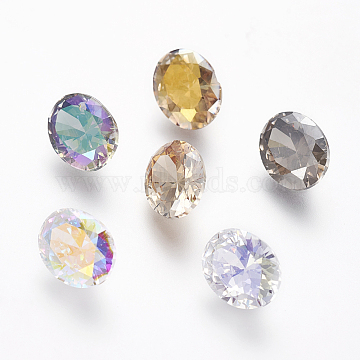 Electroplated Cubic Zirconia Pointed Back Cabochons, Oval, Faceted, Mixed Color, 10x8x5mm(ZIRC-I024-8x10-03)