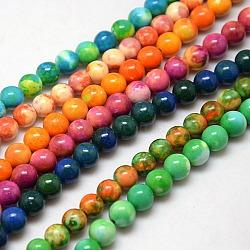 """Chapelets de perles en fossile synthétique, teints et chauffée, rond, couleur mixte, 8mm, trou: 1mm; environ 50 pcs/chapelet, 15.7""""(G-L028-8mm-M)"""