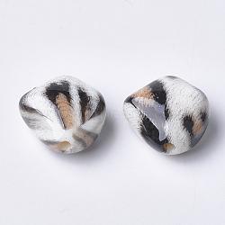 Perles acryliques imprimées, navajo blanc, 23.5x23.5x13mm, Trou: 3mm(MACR-T024-34A)