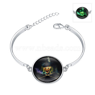 Halloween Witch Luminous Bracelets, Silver Color Plated Zinc Alloy and Glass, Fluorescent Green, 150mm(BJEW-BB14746)
