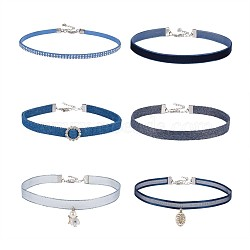 Faux Suede & Velvet Choker Necklaces, with Cloth and Alloy Findings, Blue, 11.9~13.1inches(30.2~33.4cm); 6pcs/set(NJEW-TA0016-14)