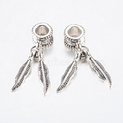 Perles européennes en alliage de style tibétain, Pendentifs grand trou, double plume, argent antique, 27mm, pendentif: 18x4x2 mm, Trou: 4.5mm(PALLOY-F199-36AS)