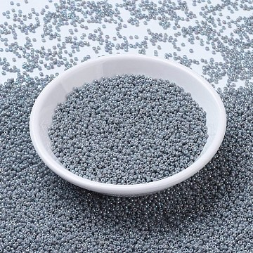 MIYUKI Round Rocailles Beads, Japanese Seed Beads, 11/0, (RR489) Opaque Light Smoke Ceylon AB, 2x1.3mm, Hole: 0.8mm; about 1111pcs/10g(X-SEED-G007-RR0489)