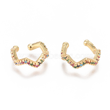 Golden Plated Brass Micro Pave Cubic Zirconia Cuff Earrings, Long-Lasting Plated, Colorful, 14x13x4mm(EJEW-L244-13G)