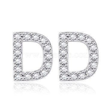 Brass Cubic Zirconia Stud Earrings, with Ear Nuts, Alphabet, Letter D, Clear, Platinum(EJEW-BB35118-D)