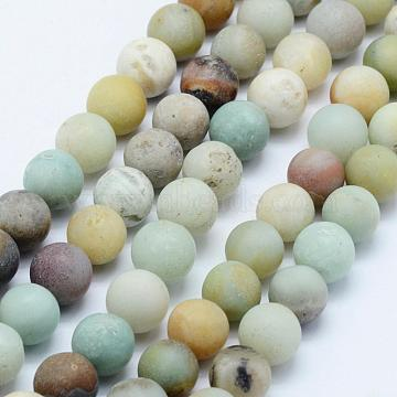 Natural Flower Amazonite Beads Strands, Frosted, Round, 6mm, Hole: 1mm, about 63pcs/strand, 15.3 inches(39cm)(G-F518-24-6mm)