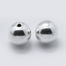Perles séparateurs en argent sterling, rond, argenterie, 6mm, trou: 1 mm; environ 31 pcs / 10 g(STER-K171-45S-6mm)