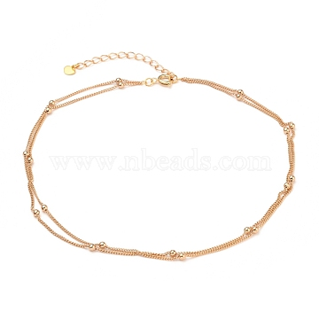 Brass Curb Chains Double Layer Necklaces, with Heart 304 Stainless Steel Charms, Brass Round Beads and Spring Ring Clasps, Real 18K Gold Plated, 13.97 inches(35.5cm), 1.3~2.6mm(NJEW-JN03122)